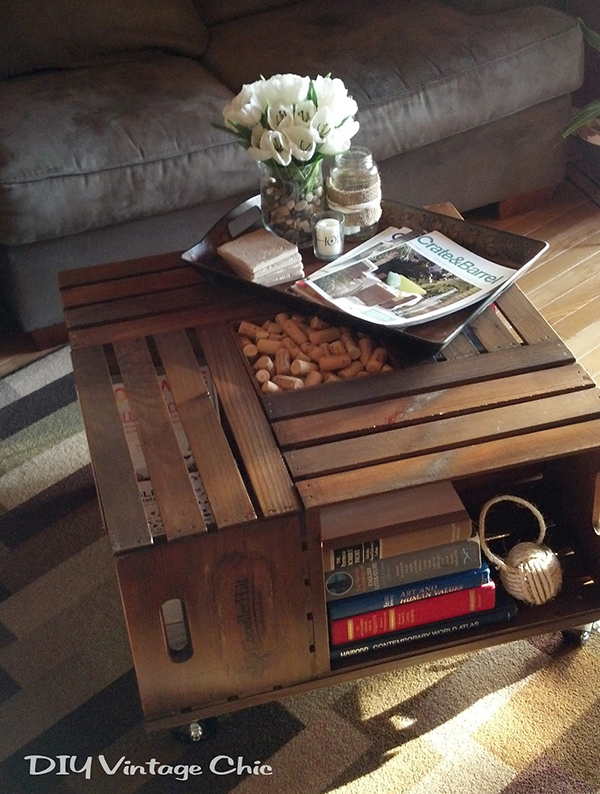 Wine Crate DIY Coffee Table 12 Gorgeous DIY Coffee Tables