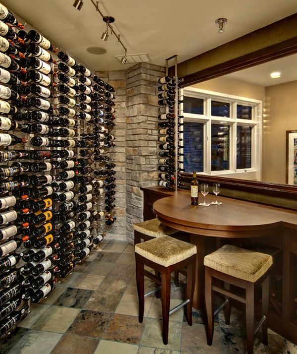 wine cellar with compact seating area that comes in handy for a quick