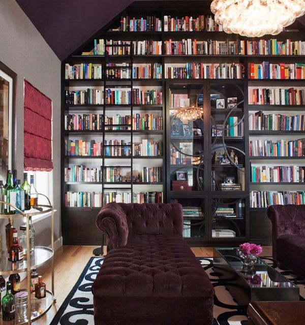 Wonderful way to add custom glass doors to your bookshelves in the vast home library