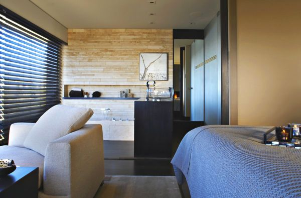 Wooden blinds offer privacy when needed