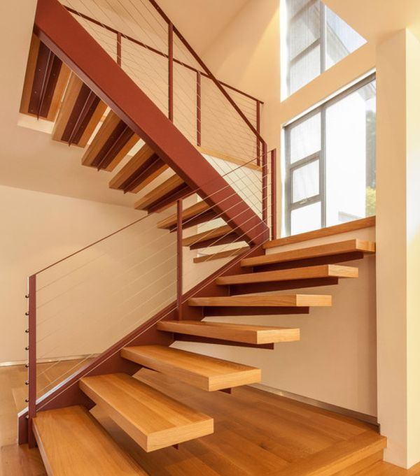 wooden floating stairs weork well within most modern homes