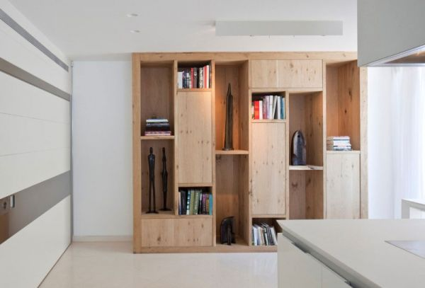 Wooden shelves that offer visual contrast