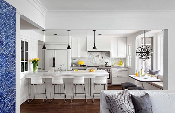 Yellow decorative accents in a modern kitchen