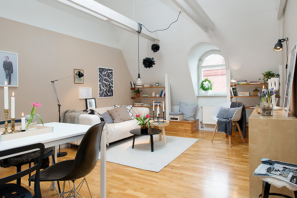 attic apartment sweden design Stockholm Attic Apartment Blends Scandinavian Ease With Elegant Interiors