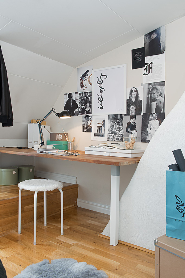 cozy home office in the attic
