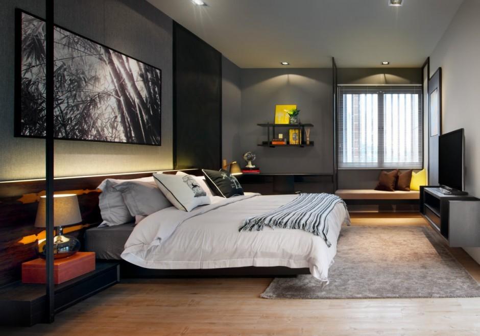 dark designed bedroom decor