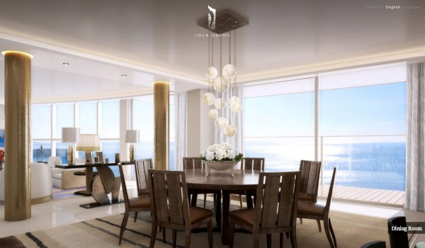 luxurious penthouse - dining table views in Monaco