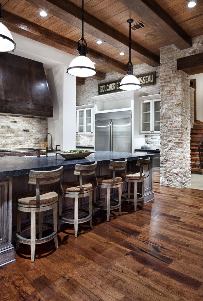 View In Gallery Raw Brick Walls In The Kitchen