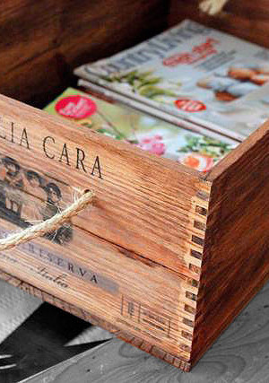 repurposed wood wine crate - magazine holder