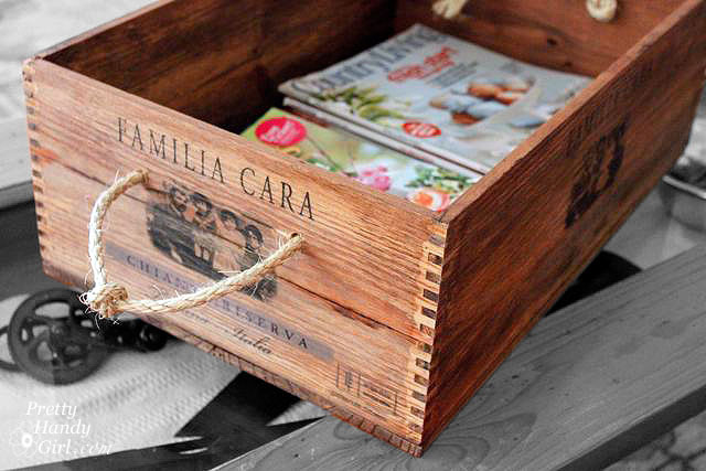 repurposed wood wine crate – magazine holder