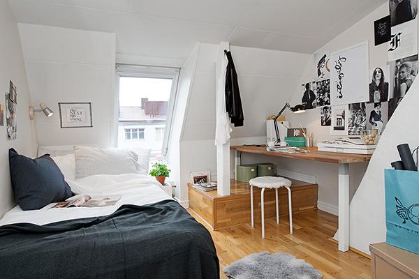 View In Gallery Small Attic Apartment Swedish Design