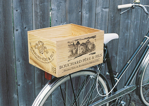 wine crate repurposing - bike holder