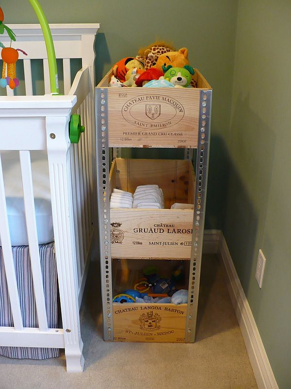 wine crates for a fancy shelving unit