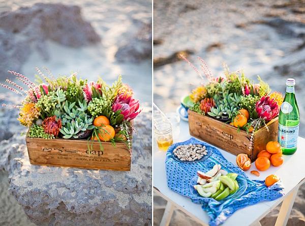 wine crates repurposed as flower holders
