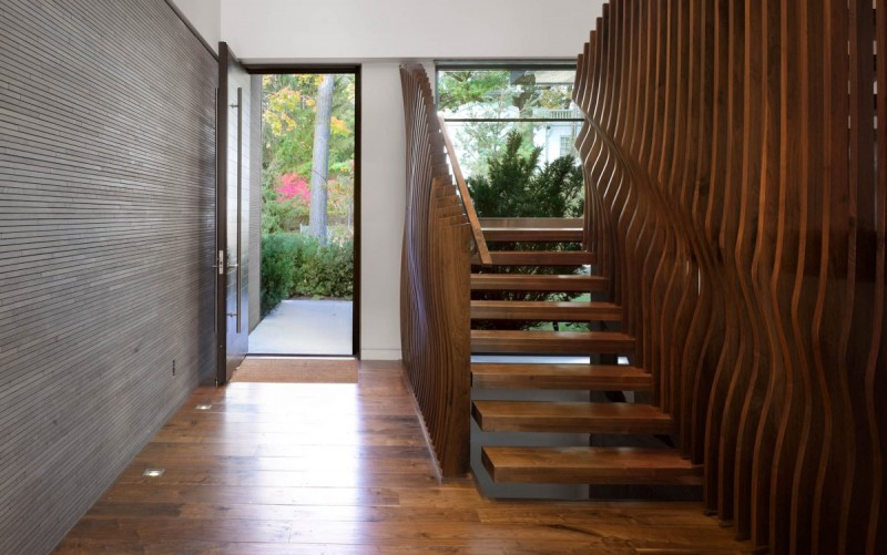 wooden staircase with unique design