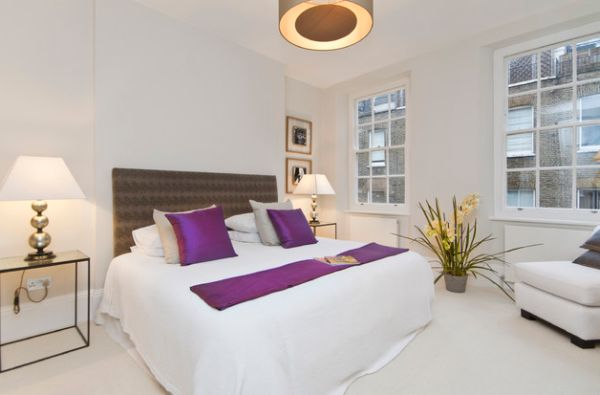 Accent fabrics - Purple pillows and a throw draw you attention at an instant