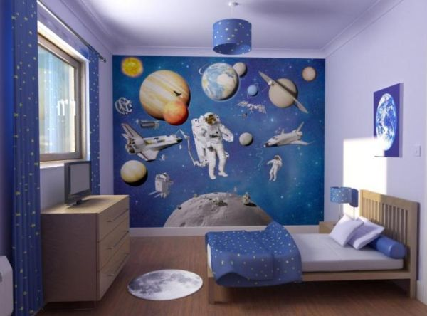 30 cool and contemporary boys bedroom ideas in blue for Boys wall mural