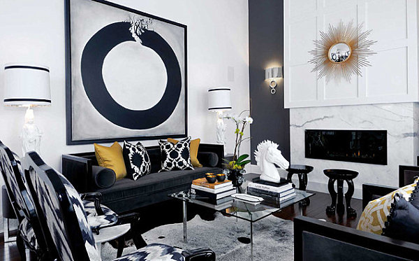 Accent wall in a modern living room
