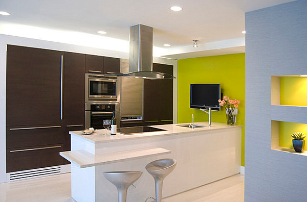 Yellow Green Kitchen : Yellow green wall in a contemporary kitchen
