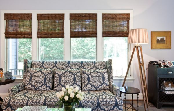 Add textural contrast to your eclectic living space with bamboo blinds
