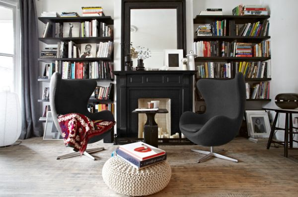 Adding a couple of Egg chairs to a reading nook instantly brings style and sophistication