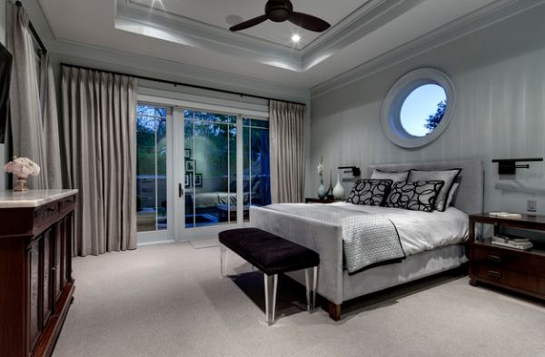 Affluent bedroom in silver and grey with hints of black and brown