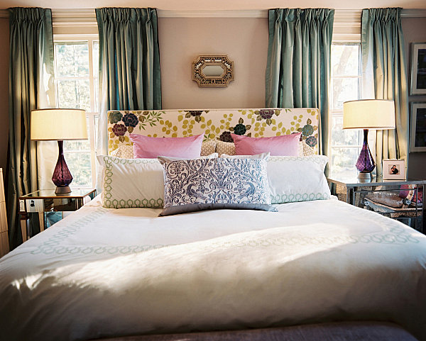 Amethyst and aquamarine bedroom