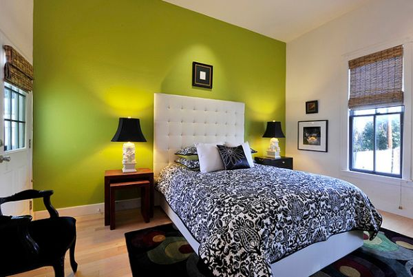 An accent wall in green is still the most popular way to add the color to a contemporary setting
