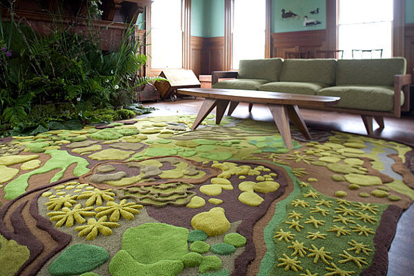 Angela Adams rug in a green room
