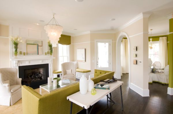 Apple green decor set against a white backdrop in the living space