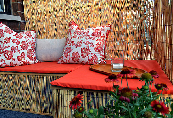 Balcony makeover with a reed fence