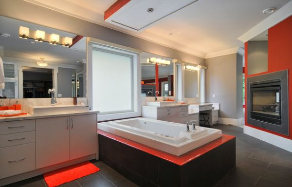 Bathroom in muted colors comes alive with a bold orange lining