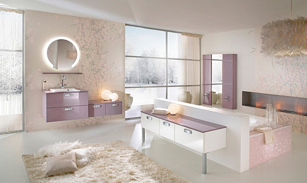Bathroom with lavender accents