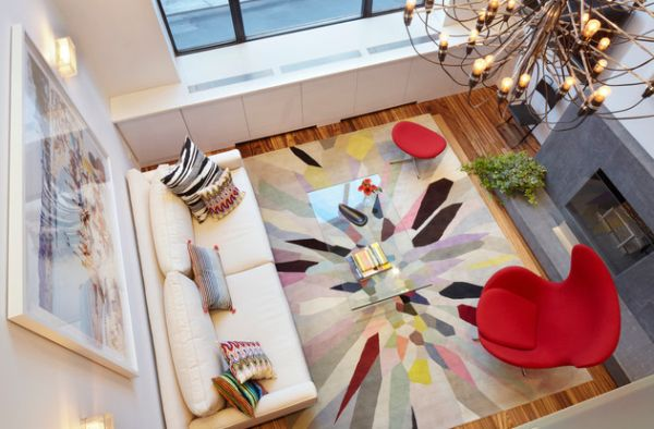 Beautiful and vivid living room idea with the Egg chair- A view from the top!