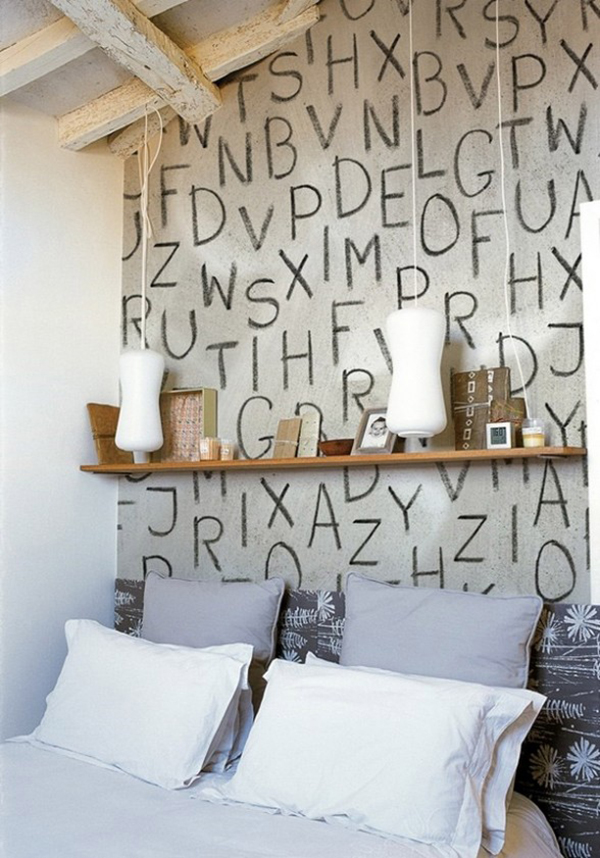 Bedroom With Alphabet Lettering Mural