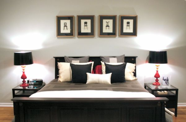 Bedroom in black and white with accents of red