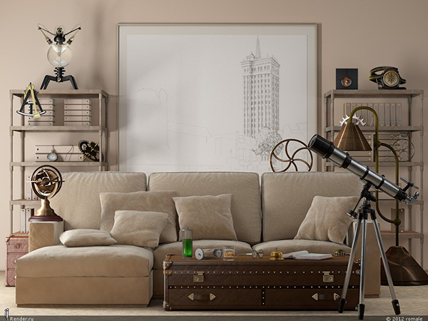 Beige and Metal Industrial Living Room