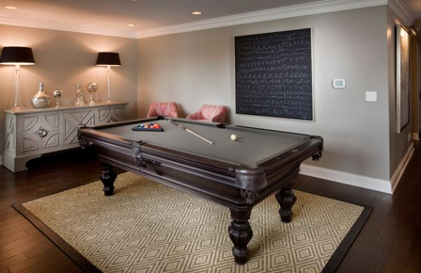 Billiards room sports beautiful lamps with black lampshades