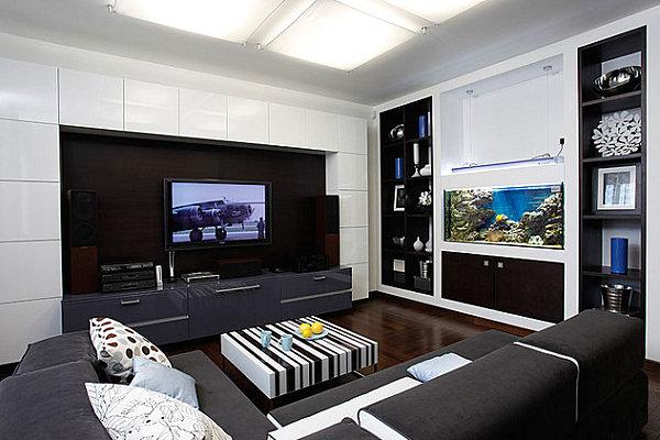 Black and white living room palette