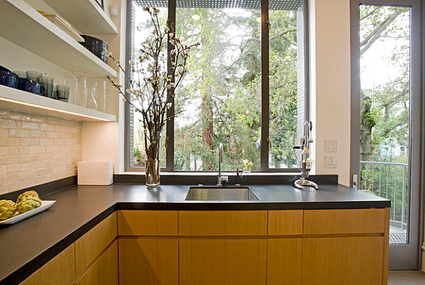 Black laminate countertop in a San Francisco kitchen