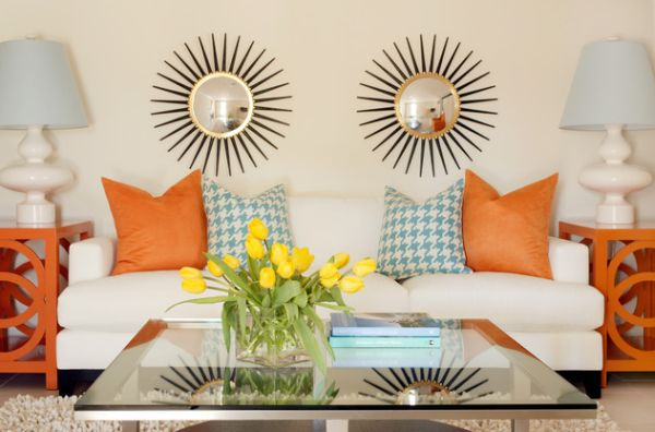 Blue and orange color scheme with a touch of yellow- Cheerful and lively!