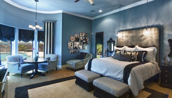 Blue serves well in a lavish and traditional scheme as well