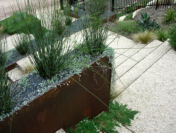 Bordered areas in a modern outdoor space