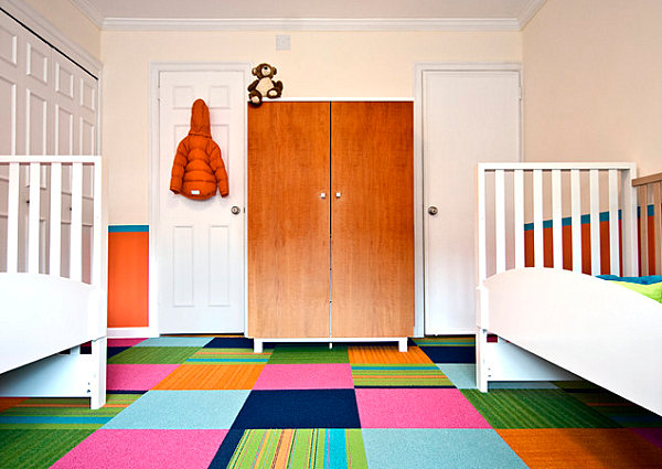 Bright carpeting in a children's room