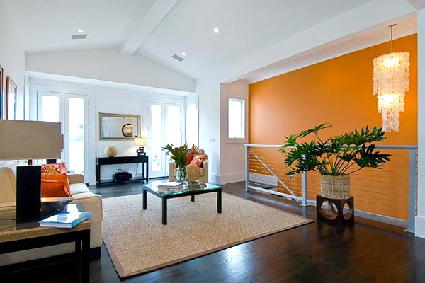Bright orange accent wall