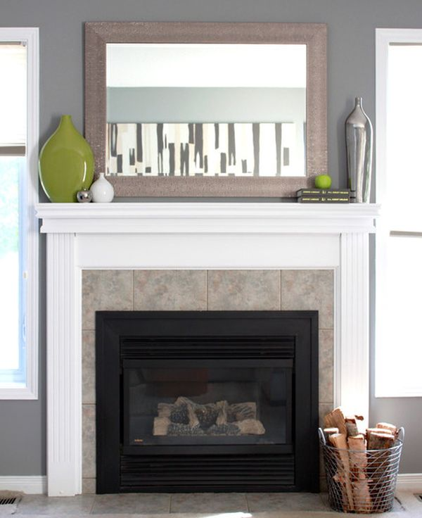 Brilliant and beautiful way of adding green above the fireplace!