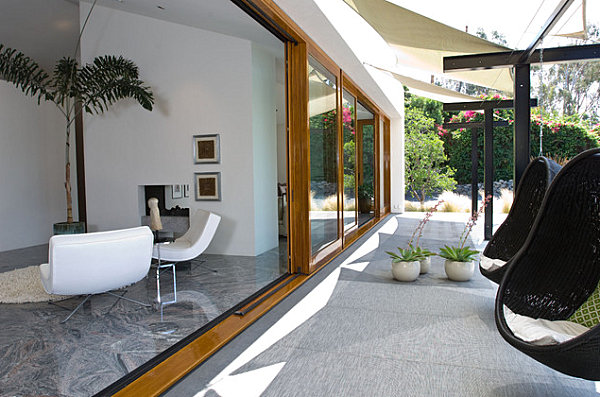 Bubble chairs in a contemporary yard