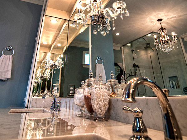 Chandeliers in an elegant bathroom