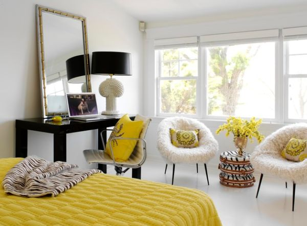View In Gallery Chic Bedroom Employs Yellow Along With Plush Textures To  Create Hollywood Regency Style