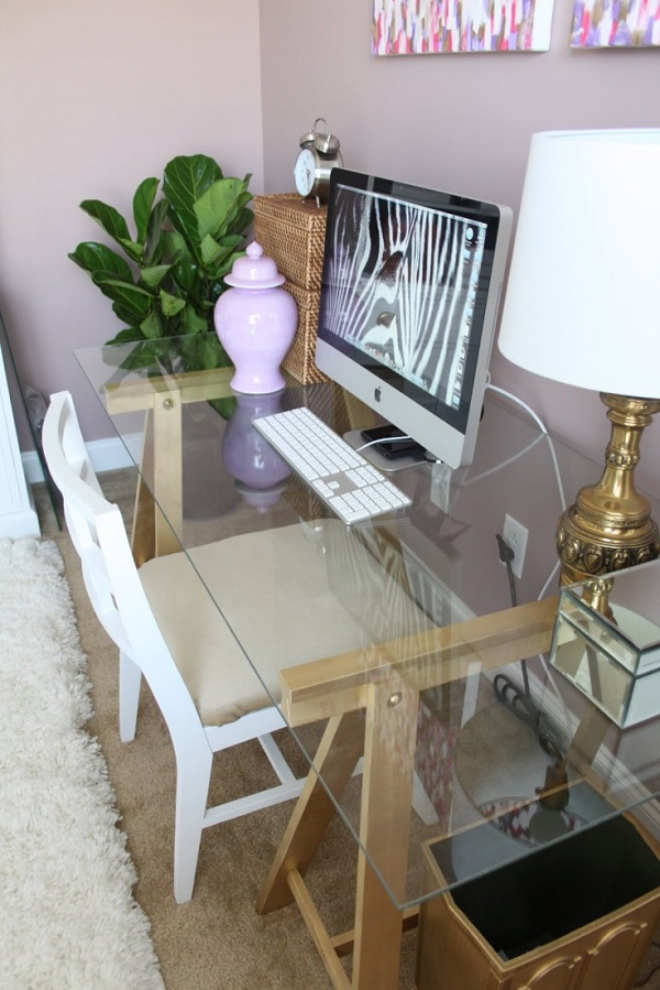 Chic glass computer desk